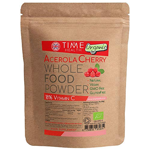 Acerola Cherry Powder - Natural & Wholefood VIT C - Soil Association Approved Organic Extract Powder - 125g 250g 500g 1kg (125g Powder Pouch)
