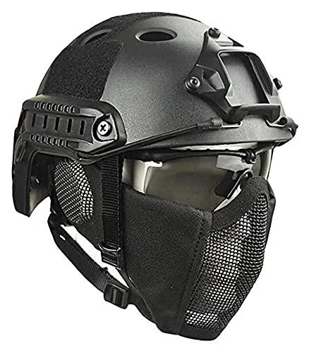 Makeupart Casco Táctico Rápido, Casco De Paintball Airsoft De Combate Militar De Protección Militar Totalmente Cubierto, con Máscara Y Gafas Protectoras para Airsoft