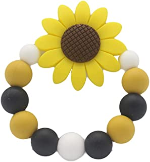 Anniston Baby Accessories, Colorful Beads Sunflower Bracelet Soft Silicone Baby Teether Chew Teething Toy Perfect Fun time...
