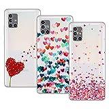 Young & Min Funda para Samsung Galaxy A51 5G[No para 4G], (3 Pack) Transparente TPU Carcasa Delgado Anti-Choques con Dibujo de Corazón