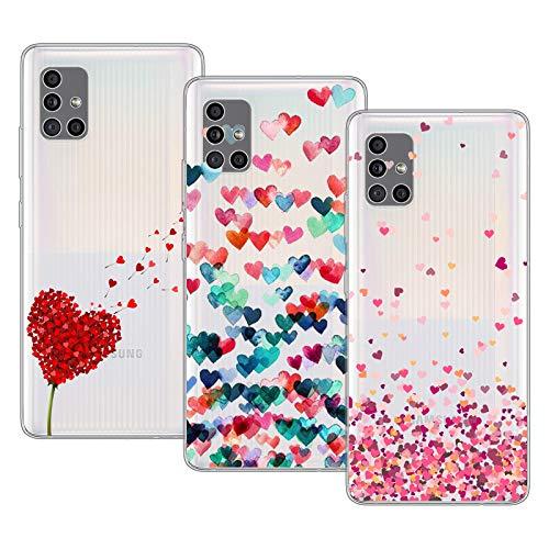 Young & Min Cover per Samsung Galaxy A51 5G[Non per 4G], 3 Pack Sottile Morbido TPU Bumper Silicone Antiurto Protettiva Custodia per Samsung Galaxy A51 5G con Disegni Cuore