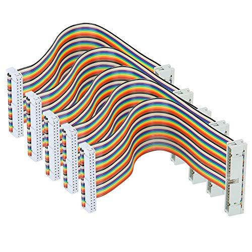 T opiky 5-teiliges GPIO-Kabel für Raspberry Pi 40-poliges Flachbandkabel Computerzubehör 20 cm(Männlich zu weiblich)