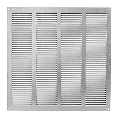Griglia di ventilazione zincata, 400 x 400 mm, con protezione dagli insetti, per l\'aria di scarico, in metallo