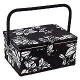 Sewing Basket with Floral Print Design - Sewing Kit Storage Box...