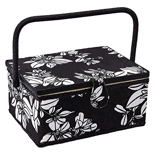 Sewing Basket with Floral Print Design - Sewing Kit Storage Box with Removable Tray, Built-in Pin Cushion and Interior Pocket - by Adolfo Design (Medium - 11' x 7' x 5.5', Hibiscus)