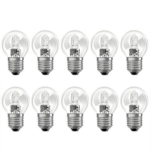 10 x Eco Halogen Tropfen Glühbirne 46W = 60W E27 klar Glühlampe Kugel warmweiß dimmbar 46 Watt