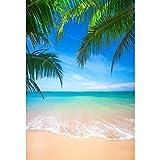 Cassisy 1,5x2,2m Vinilo Mar Telon de Fondo Playa de Arena Tropical Hojas de Palma de Coco Soleado Cielo Fondos para Fotografia Party Infantil Photo Studio Props Photo Booth