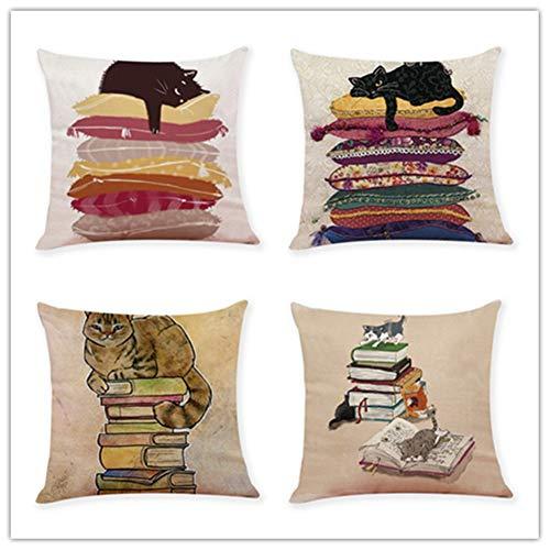 N / A Pack de 4,Funda de Cojine 60x60cm 24x24 Inch Cuadrado Cushion Cover Decoración Algodón Lino Lanzar Funda de Almohada Caso de la Cubierta Cojines para Sofá Decorativo,Dibujos Animados A1547