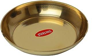 "Decorative Brass Plate, Decorative Indian Prasad Plate Katori for Pooja Pooja Utensils Item Articles ( Size 4"" Diameter) P..."