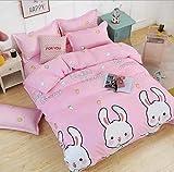 IRCATH Ganzjahres Bettbezug-Set - Einzelne dreiteilige Pflanze Kaschmir Cartoon geschliffene Bettbezug vierteilige Bettwäsche rosa Schatz-2 m vierteiliges Set