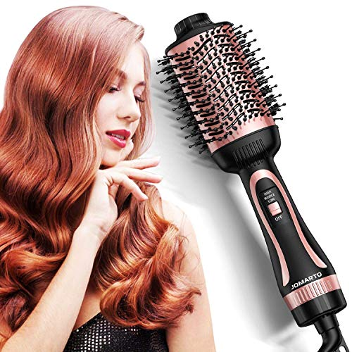 Hot Air Brush, JOMARTO Hair Dryer & Volumizer, Hair Dryer Brush, 3 in 1 Salon Hair Drying Styling Tool, Electric Blow Dryer for Straight, Curly and Wet Hair (Rose gold)