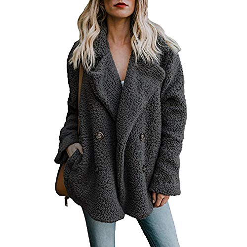 Damen Casual Jacke Winter Warm Parka Outwear Mantel Frauen Fuzzy Faux Pelz Langarm Strickjacke Wintermantel Einfarbig Trenchcoat Umlegekragen Winterjacke Dicker Pelzkragen Jacken(schwarz,S)