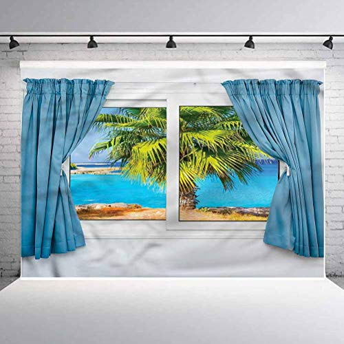 8x8FT Vinyl Backdrop Photographer,Beach,Tropical Beach Sun Background for Baby Shower Bridal Wedding Studio Photography Pictures