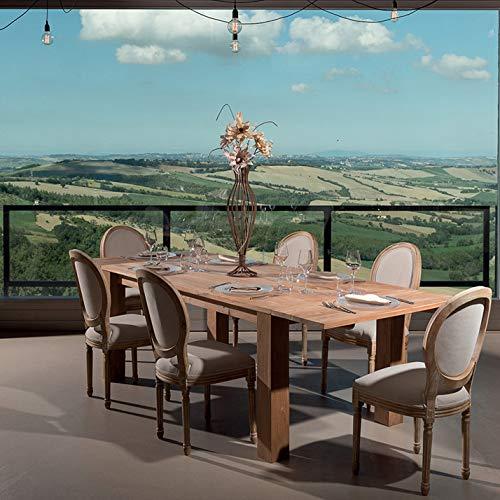 Rosa Splendiani Table à Manger Bois Massif Teck Naturel avec prolongements Extensible jusqu'à 270 cm. Design Italien