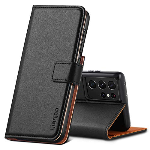 Hianjoo Funda Compatible con Samsung Galaxy S21 Ultra 6.8', Suave PU Cuero Carcasa con Flip Case Cover, Cierre Magnético,Función de Soporte,Billetera con Tapa Tarjetas, Negro