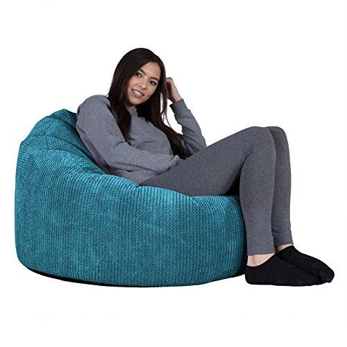 Lounge Pug, Poltrona Sacco 'Mini Mammut', Pouf, Pompon - Egeo Blu
