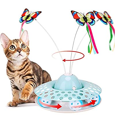 Cat Toys - Funny Automatic Electric Rotating Butterfly & Ball Exercise Kitten Toy,Interactive Cat Teaser Toys for Indoor Cats (Feather Toys)