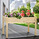 KINGSO Raised Garden Bed Elevated Wood Planter Box Outdoor Raised Wooden Planter Garden Grow Box Kit with Legs for Vegetable Flower Herb Gardening Backyard Patio Natural, 48 x 24 x 30 inch
