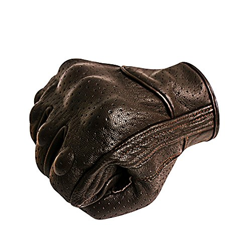 Breathable Leather Motorcycle Gloves Touchscreen Knuckle Protector Brown Motorbike Gloves for Men (L, Brown,Perforated)