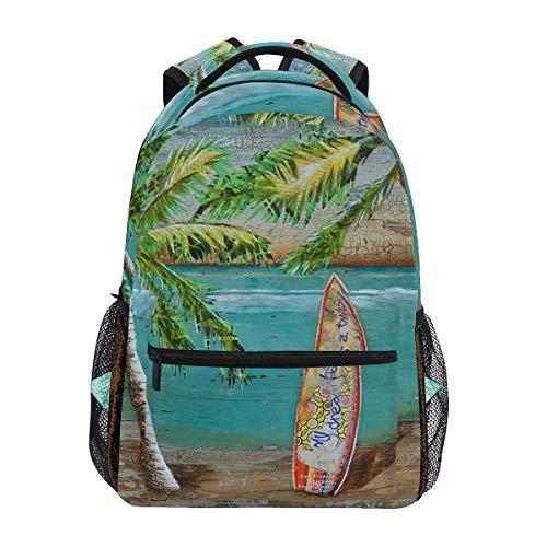 LNLN Beach Collage Surf Art Mochilas College School Book Bag Viajes Senderismo Camping Daypack