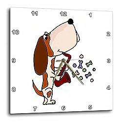 3dRose DPP_195273_1 Funny Basset Hound Dog Playing Saxophone Wall Clock, 10 by 10