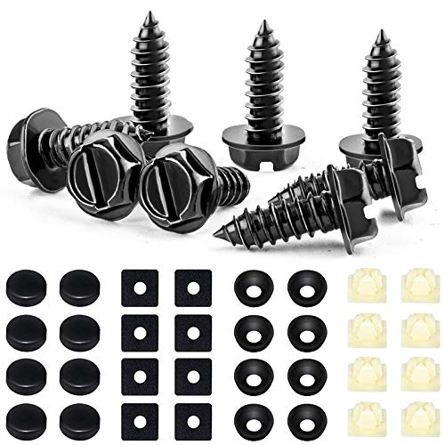 8 Sets Premium Stainless Steel License Plate Screws Kit, Rust-Proof & Anti-Rattle License Plate Bolts, Maximum Compatibility for Most Domestic Cars and Trucks(Black)