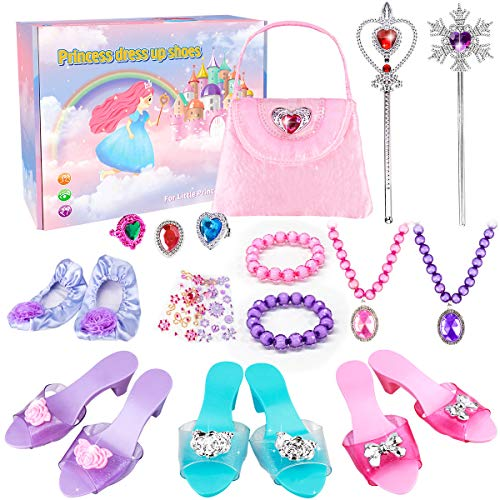 Meland Princess Dress Up Shoes - Princess Toys with My First Purse Toy Set & Jewelry Accessories - Princess Gift for Little Girls Aged 3,4,5,6 Years Old for Birthday Christmas