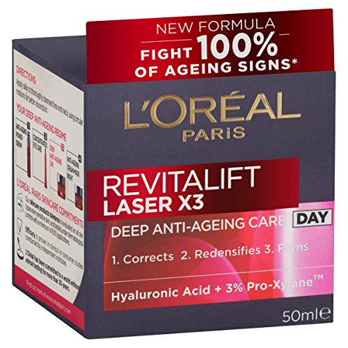 L'Oréal Paris Revitalift Laser X3 Re-Densifying Anti-Ageing Day Moisturiser, with Pro-Xylane, Dermatologically Tested, 50ml