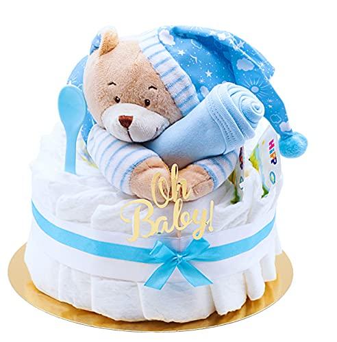 Trend Mama Windeltorte Junge -Traum in hellblau- mit Spieluhr Bär-hellblaues Lätzchen handbedruckt mit Spruch 50% Mama 50% Papa 100% Perfekt -Baby Tee-Fütterlöffel