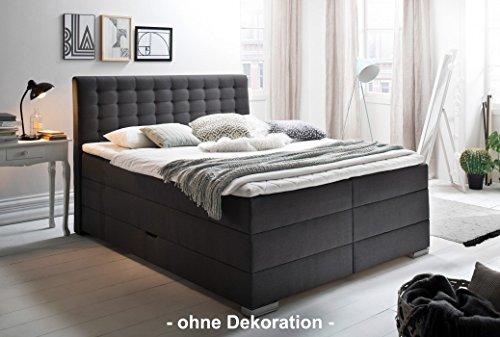 Meise Möbel Boxspringbett Lenno mit Bettkasten 180x200 cm - Matratze H3 (anthrazit, inkl. Kaltschaum-Topper)