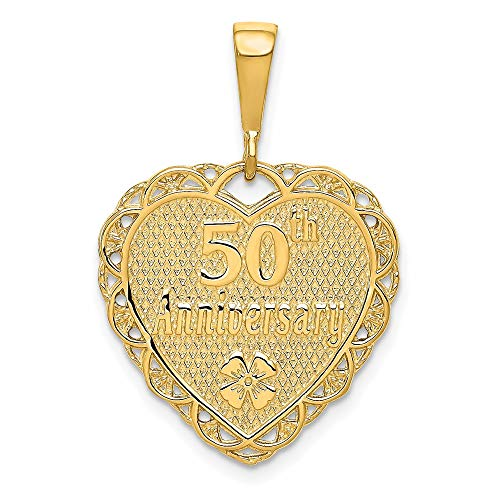 14k Yellow Gold Reversible 50th Anniversary Pendant Charm Necklace Special Occasion Fine Jewelry For Women Gifts For Her
