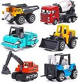 Colorido juego de juegos de coches de ingeniería educativos Camiones de construcción de fundición a presión Juguetes de vehículos para niños 3 4 5 6 (6 piezas) Vehículo de construcción Modelo de aleac