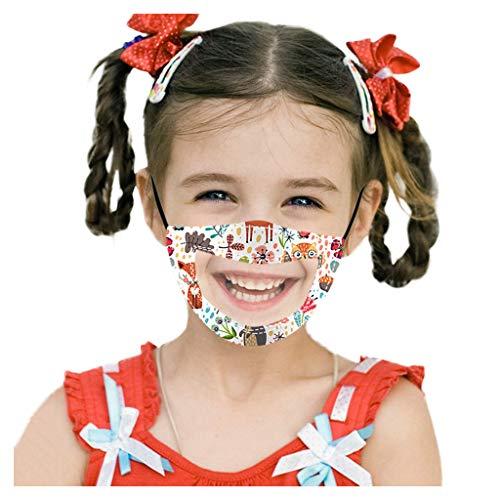 VijTIAN - Copertura per il viso per bambini, riutilizzabile, con finestrella trasparente, espressione visibile per sordenti e bambini