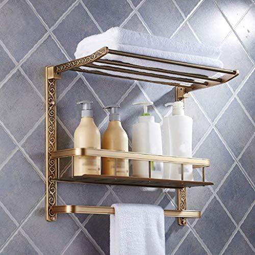 Style européen Rétro salle de bain Tablette Tenture murale Double couche Sculpté Pliable Porte-serviettes Porte-serviettes Placer le panier (Taille: 53 * 24 * 42CM)