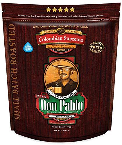 2LB Don Pablo Colombian Supremo - Medium-Dark Roast - Whole Bean Coffee - Low Acidity - 2 Pound (2 lb) Bag