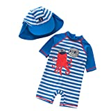 TAIYCYXGAN Baby Jungen Badeanzug Bademode Uv-Schutz Einteiler Badebekleidungmit Süß Streifen Cartoon, 12-18 Monate, Blau