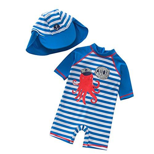 Baby Jungen Badeanzug Bademode Uv-Schutz Einteiler Badebekleidungmit Süß Streifen Cartoon Druck, Blau, 18-24 Monate