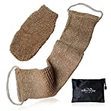 Natural Back Scrubber for Shower for Men and Women - Set of 2 Hemp Exfoliating Body Scrubbers - Long Back Washer Sleeve & Bath Scrub Mitten for Deep Cleaning & Skin Relax