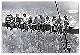 FGVB Cartel de fotografía en Blanco y Negro Almuerzo en lo Alto de un Rascacielos o Trabajadores de la construcción de Nueva York almorzando en una viga Transversal -60x90cmx1pcs- Sin Marco