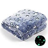 ModernMade Glow in The Dark Blanket   Fleece Lined Galaxy Star Blanket for Kids & Adults   50' x 60'   Night Sky Blue