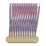 Relaxdays Goldmedaille Kinder 12er Set, Band, Fackel, Auszeichnung für Siegerehrung, Medaillenset, 5 cm Ø, Plastik, Gold, Pack