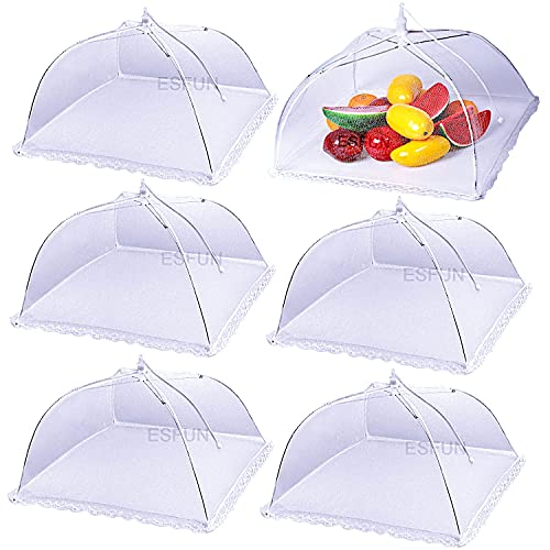(6 Pack) ESFUN Food Net Covers for Outside, 17'x 17' Large Outdoor Food Cover Mesh Screen Tents Umbrella Fly Food Covers for Picnics, Parties, BBQ, Camping, Reusable and Collapsible