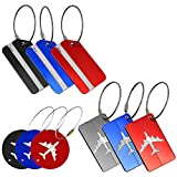 9 Pack Metal Luggage Tags, YuCool Aluminum Travel ID Labels for Baggage Bags Suitcases