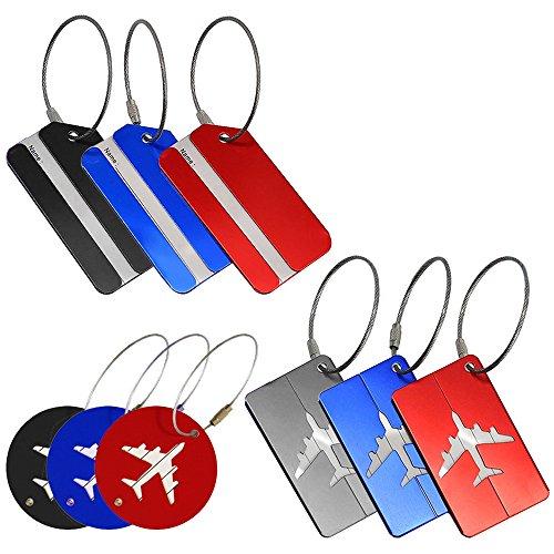 Paquete de 9 etiquetas de equipaje de metal, etiquetas de identificación de viaje de aluminio YuCool para maletas en bolsas de equipaje