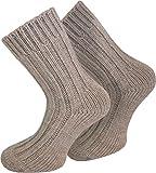 normani 2 Paar extra warme Alpaka Wollsocken für Damen und Herren/wie Handgestrickt (Waschmaschienenfest) Farbe Beige Größe 43/46