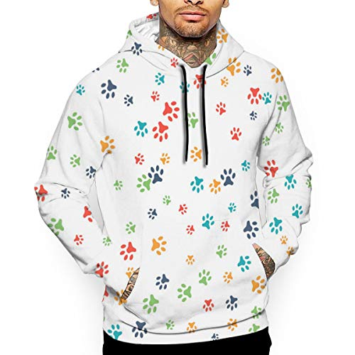 Colorful Animal Paw Prints Hooded Sweatshirt Sweater Pullover - Unisex Hoodie L