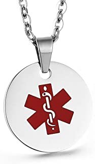 Stainless Steel Medical Alert ID Necklace for Women Custom Engraving, 20-24 inches