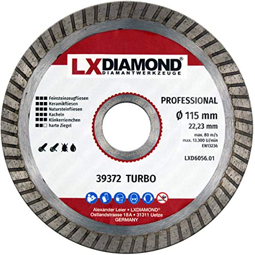 LXDIAMOND Disco de corte de diamante de 115 mm x 22,23 mm para azulejos de gres porcelánico, azulejos de cerámica, piedra natural para amoladora angular de 115 mm