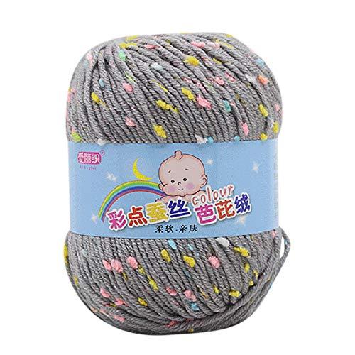 FeiliandaJJ 50g Wolle Zum Stricken & Häkeln Handstrickgarn,Mehrfarbig Punkt Wolle Perfekt für Hüte Pullover Schal,65% Seide Wolle + 35% Wolle - 10 Farben (B)