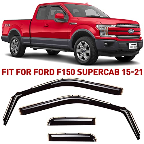 Voron Glass in-Channel Extra Durable Rain Guards for Ford F150 2015-2021...